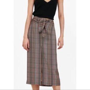Zara Plaid Front Slit Lightweight Long Skirt